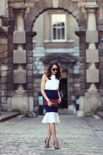 preppy fashionist blogger sunglasses top skirt bag shoes blue skirt clutch halter top
