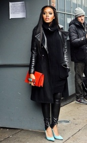 coat,winter outfits,Angela Simmons,bag,shoes