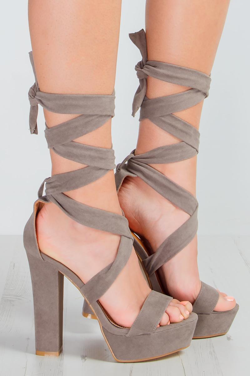 Willow Grey Suede Tie Up Platform Heels at misspap.co.uk