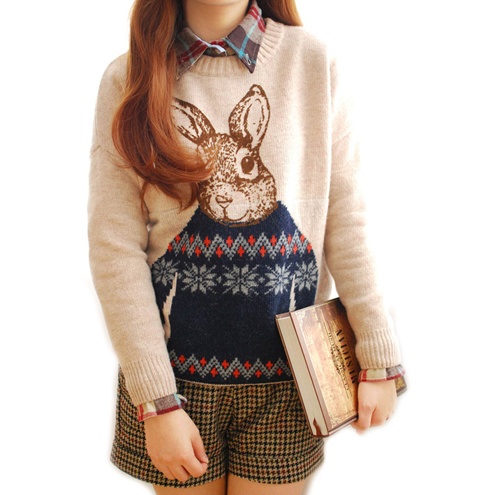 Animal Cute Bunny Printed Pullover Women 2013 New Winter High ...