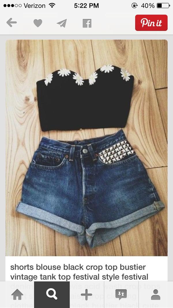 blouse black flower crop top