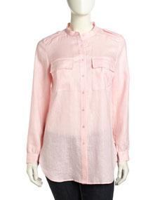 Go Silk Long-Sleeve Flowy Linen Blouse, Soft Pink - Neiman Marcus Last Call
