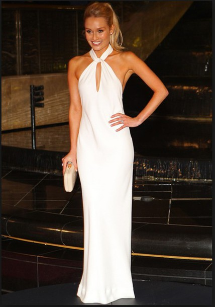 Dress: white, blonde hair, halter dress, long dress - Wheretoget