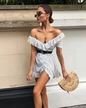 dress,mini dress,bag,polka dots,belt,off the shoulder,sunglasses,belted dress,v neck dress,chain necklace