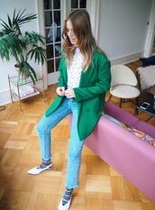 trineswardrobe,blogger,jacket,t-shirt,jeans,socks,blazer,green jacket,fall outfits,slingbacks