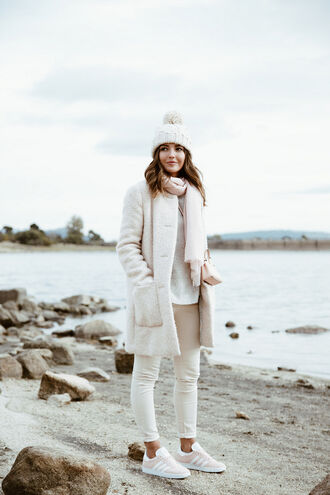 lovely pepa blogger coat shoes bag hat pants sweater cardigan skirt beanie fuzzy coat nude coat sneakers adidas fall outfits