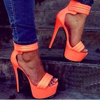 shoes high heels sexy shoes orange platform shoes