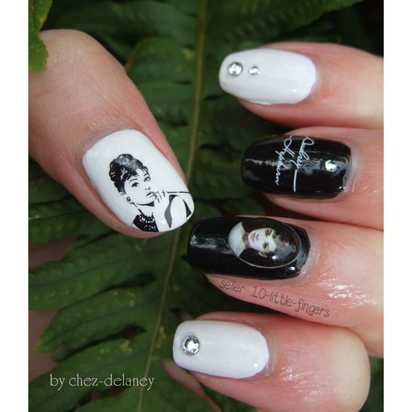 nail accessories nail art nails stickers manicure pedicure diy decoration audrey decals audrey hepburn