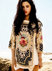 dress,pretty,colorful,selena gomez,balmain,designer,celebrity,clothes,embroidered shirt,blouse,lovely dress,tribal designs,native american,rose,sequins,short dress,baroque dress,beaded,top,t-shirt,shirt