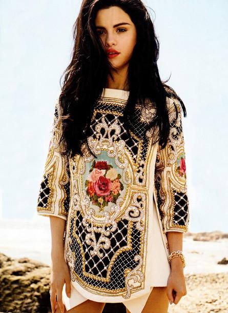 dress pretty colorful selena gomez balmain designer celebrity clothes embroidered shirt blouse lovely dress tribal designs native american rose sequins short dress baroque dress beaded top t-shirt shirt