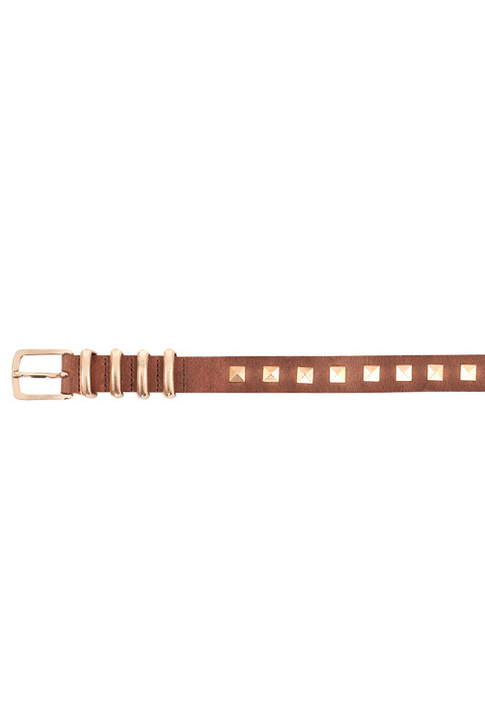 Brown belt with gold studs