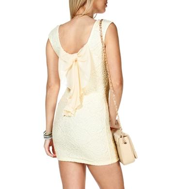 Ivory Bow Back Lace Dress