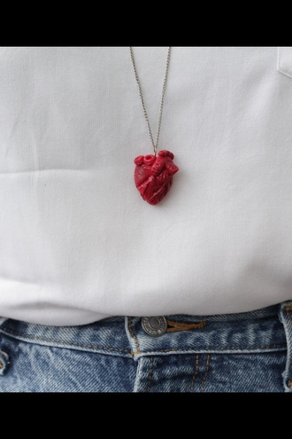 jewels heart necklace red long chain