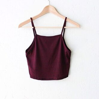 top nyct clothing crop tops striped crop top striped tank top burgundy top striped top
