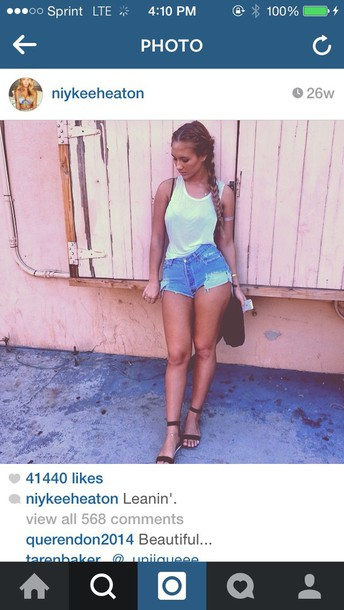 niykee heaton sandals denim shorts tank top