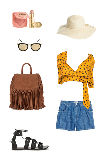 top safari animal print summer holidays pink lipstick nude lipstick sun hat leather sandals gladiators crop tops denim shorts outfit idea cute outfits date outfit summer outfits matte lipstick fringe backpack fringed bag shorts shoes sunglasses make-up bag hat