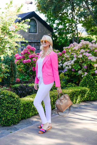 style archives | the style scribe blogger jacket shoes sunglasses white top pink blazer blazer white jeans white pants flats