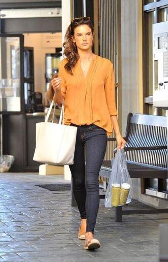 bag jeans flats blouse alessandra ambrosio