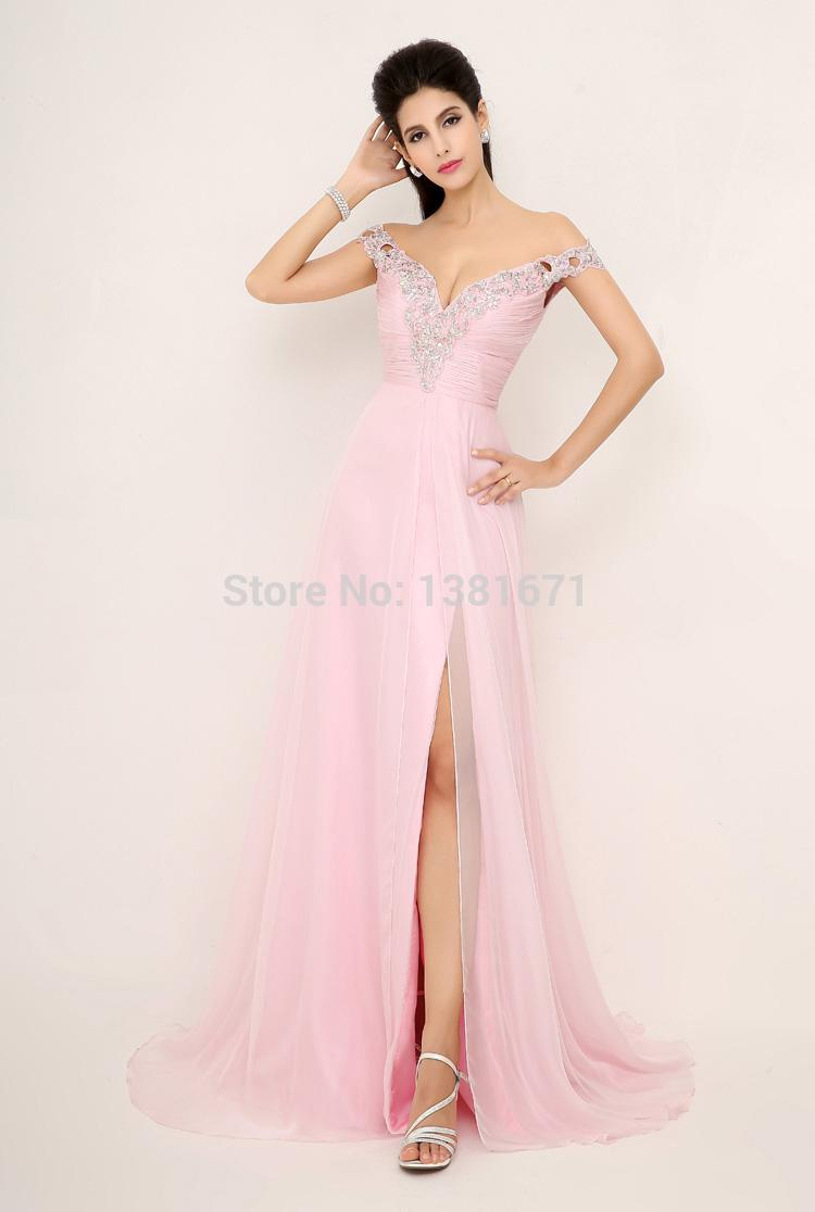 Aliexpress.com : Buy 2014 New Arrival Beaded Deep V Neck High Side Slit Cheap Pink Luxury Fashion Sexy Evening Dresses from Reliable dress fashion girl suppliers on Aojia Top Evening Dress