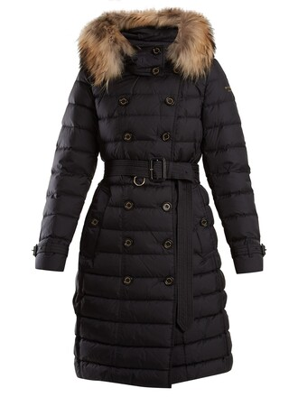 coat fur quilted navy