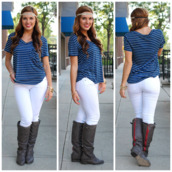 top,navy,pocket t-shirt,striped tee,striped pocket tee,fall outfits,jeans,shoes