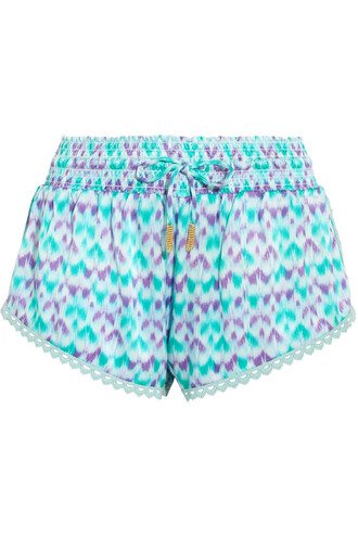 shorts silk crochet satin turquoise