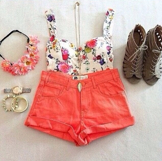 shorts flower crown flowers necklace flowercrown bracelets watch bustier coral