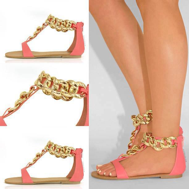 I Love Cute Shoes |  Gold Linked Chain Sandals