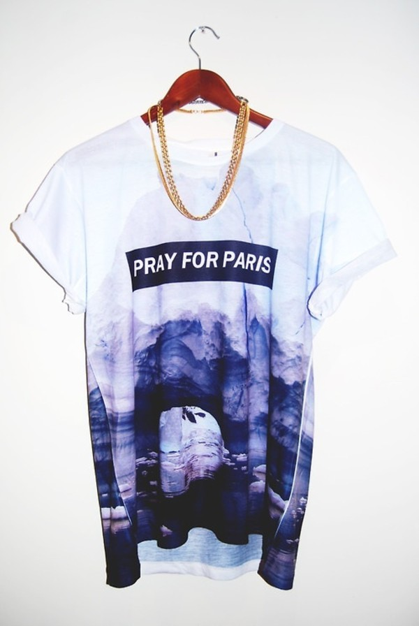 shirt t-shirt white pray for paris