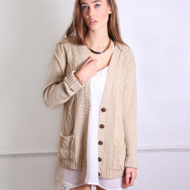 Cardigan: cable knit, baggy cardigan, loose cardigan, buttoned ...
