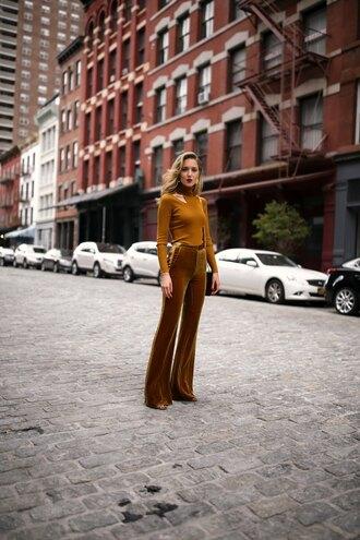 pants velvet velvet pants tumblr wide-leg pants wide-leg velvet pants top mustard all yellow outfit fall outfits fall colors
