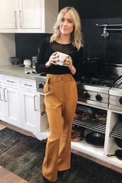 pants,kristin cavallari,wide-leg pants,high waisted,black blouse,blouse,heels,shoes,high waisted pants,summer,summer outfits