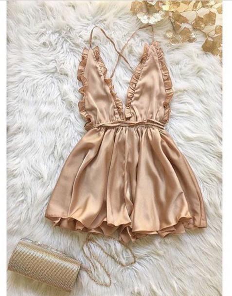 bb8bf6261f3e romper gold rose gold jumpsuit pink pink slik silk romper
