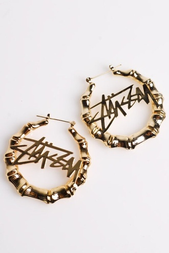 hair accessory stussy gold hoop earrings big urban