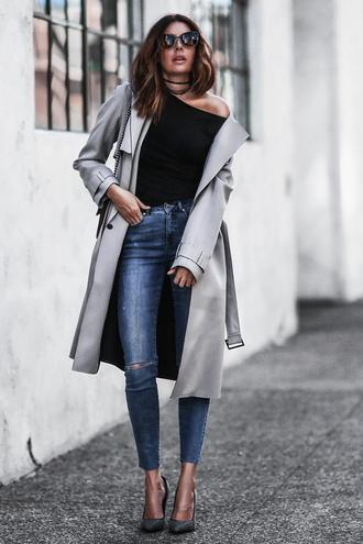 fashionedchic blogger coat top jeans bag shoes sunglasses