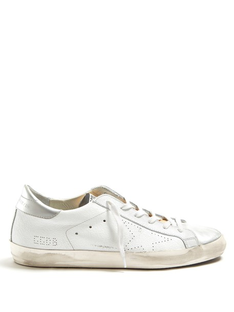 GOLDEN GOOSE DELUXE BRAND top leather silver white