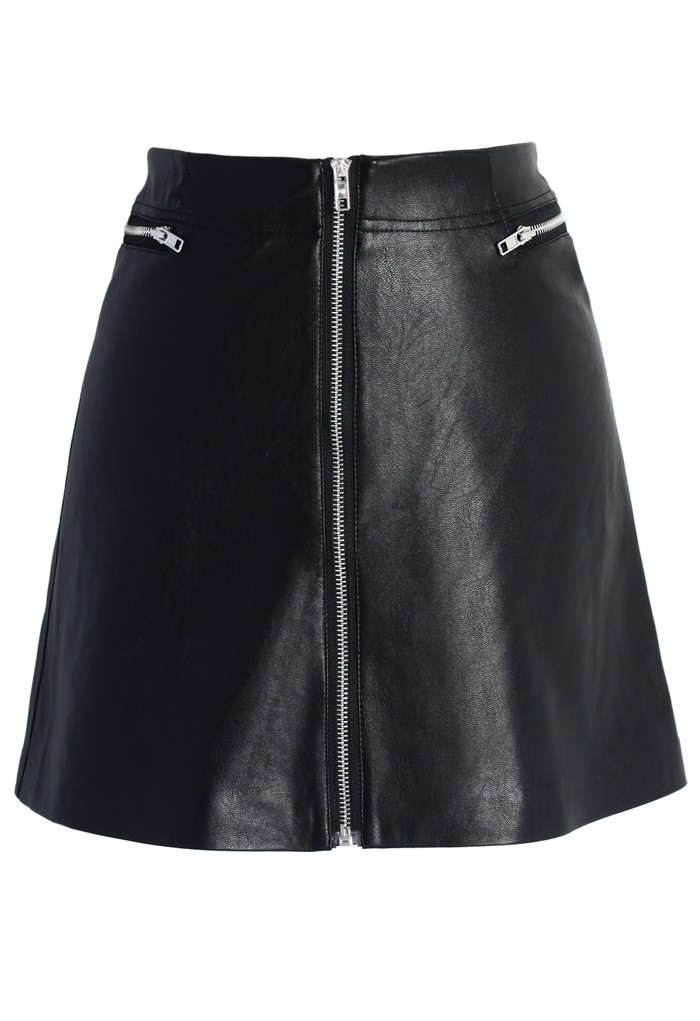 Zipper Faux Leather Bud Skirt - Retro, Indie and Unique Fashion