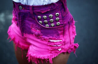 shorts pink purple dip dyed spikes cut off shorts denim shorts ripped shorts pink shorts perfection vintage girly ombre studded shorts bright colored summer outfits pink silver studs ripped purple stressed look bright purple studs hot pants ripped acid wash shoes high waisted shorts ombre shorts
