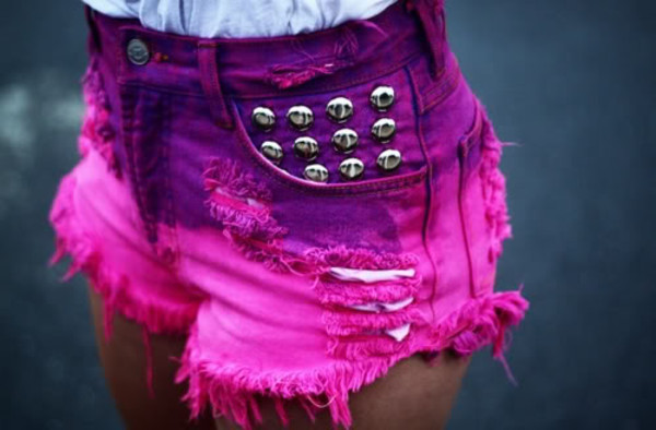 shorts pink purple dip dyed spikes cut off shorts denim shorts ripped shorts denim shorts pink shorts perfection vintage girly ombre studded shorts bright summer silver studs ripped stressed look bright purple studs hot pants ripped acid wash shoes High waisted shorts ombre shorts