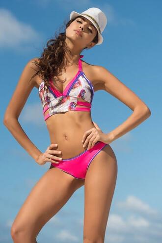 swimwear bikini irgus exclusive full coverage halter top pink thong print