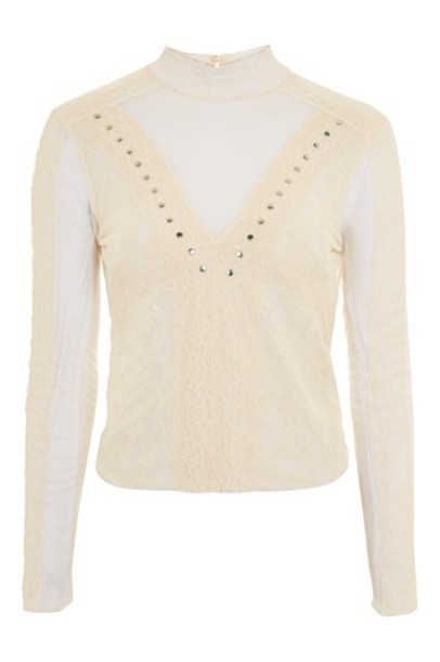 Topshop top romantic high high neck lace cream
