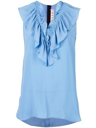 top ruffle women blue silk