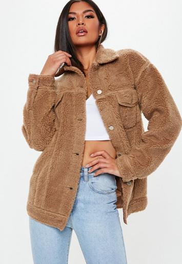 Missguided - Tall Brown Oversized Borg Teddy Jacket