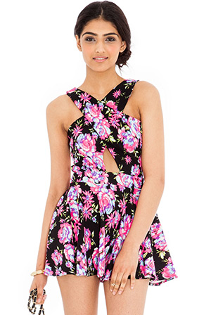 Floral Print Cross Over Front Playsuit