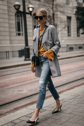 fashionjackson,blogger,coat,top,jeans,shoes,bag,sunglasses,jewels,fall outfits,grey coat,crossbody bag,pumps,slingbacks,tumblr,plaid coat,mustard,denim,blue jeans,black bag