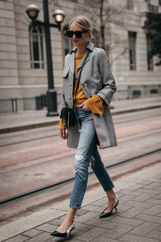 fashionjackson blogger coat top jeans shoes bag sunglasses jewels fall outfits grey coat crossbody bag pumps slingbacks tumblr plaid coat mustard denim blue jeans black bag