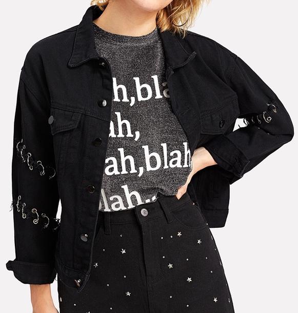 jacket girly black denim denim jacket button up
