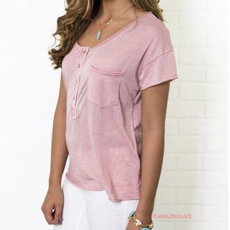 t-shirt coral basic pocket tee basic pocket tee amazinglace henley