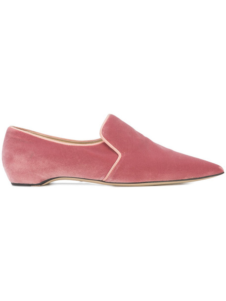 Paul Andrew women loafers leather velvet purple pink shoes