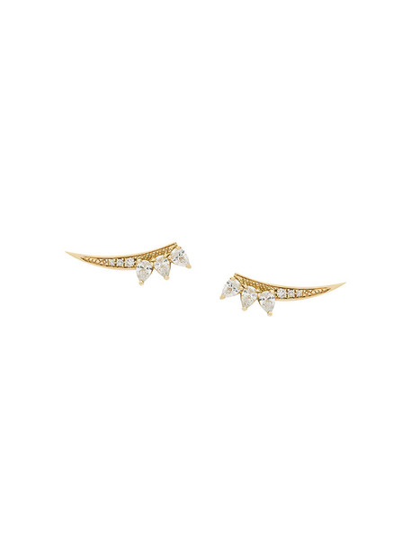 Gisele For Eshvi bow women earrings gold yellow grey metallic jewels
